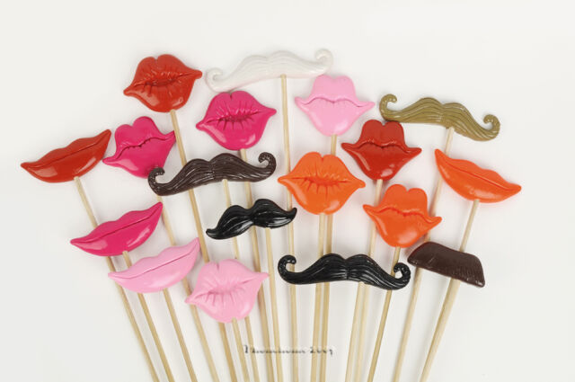 18pcs Polymer Clay Photo Booth Props For Wedding/Party Moustache Lips on a stick