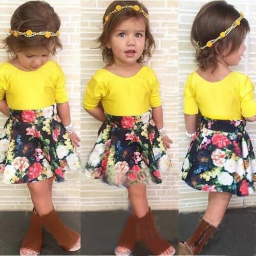 2PCS Kids Girl Daily Party Dress Suit Tops T-Shirt+Floral Tutu Skirt Outfit 2018