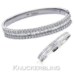 5-50ct-Genuine-Diamond-F-VS-18ct-White-Gold-Bangle-Bracelet-Baguette-Brilliant
