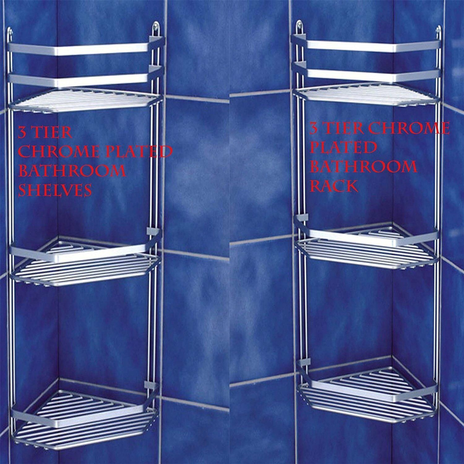 Chrome Bathroom Corner Shelf Triple Shower Basket Toilet Accessories ...
