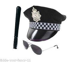 MENS POLICEMAN KIT BATON HAT & AVIATOR GLASSES POLICE MAN SET COP FANCY DRESS