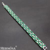 """Beauty AAA Green Emerald 925 Sterling Silver White Topaz Bracelets GIFTS 7"""""""