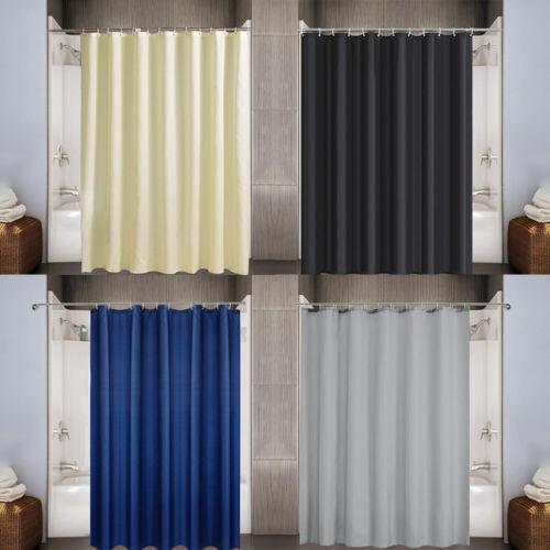 "Heavy Duty Fabric Shower Curtain Set Waterproof Weighted 12 Hooks 72/"" x 72/"""