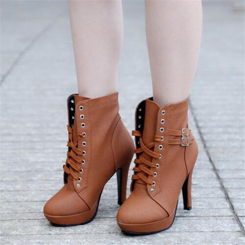 Women Ladies Lace Up High Heel Side Zipper Ankle Boots Platform Buckle Shoes B