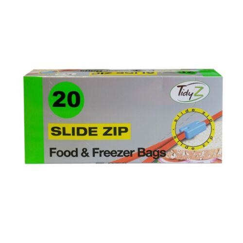 Tidy Z 20 Slide Zip Large Fridge Freezer Food Bags Strong Resealable 17cm X 19cm