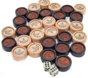 Backgammon-Set-Spielsteine-Wuerfel-Dame-Chips-Holz-Luxus-Lederbeutel-30-Stueck