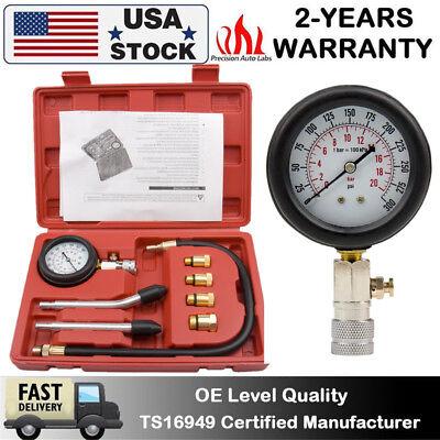 Oil Pressure Gauge,8Pcs Universal Oil Pressure Meter Car Engine Tester Oil Pressure Guage Engine Compression System Test Tool 0-300PSI for Automobile