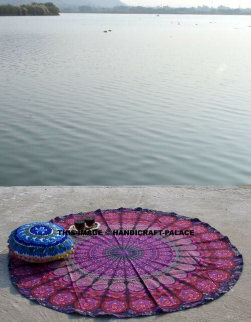 "Purple Round Mandala Beach Throw Hippie Tapestry Yoga Mat Rug Cotton Indian 48"""