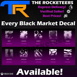 XBOX-ONE-Rocket-League-Universal-Black-Market-Decal-HexTide-Glorifier-20XX-etc