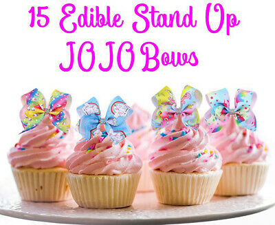 15 STAND UP Edible JOJO Siwa BOWS Unicorn BOWS Cake Cupcake Toppers Images