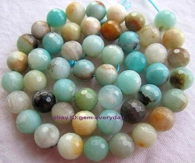 4,6,8,10,12,14mm Natural Multicolor Amazonite Round faceted loose beads 15""