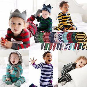 """Vaenait Bébé Enfant Garçons Filles Vêtements épais Pyjama """"à Rayures Set"""" 12-7 T-afficher Le Titre D'origine Faire Sentir à La Facilité Et éNergique"""