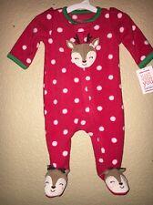 CARTERS NEWBORN GIRL CHRISTMAS INFANT BABY REINDEER FLEECE PJS CLOTHES NWT