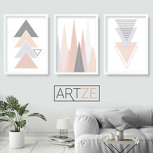 Details About Set Of 3 Geometric Blush Pink Grey Wall Art Prints Triangles Poster Large