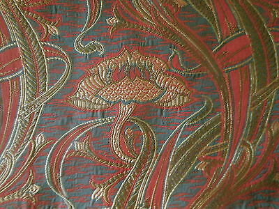 Vintage French Retro Art Nouveau Lotus Floral Fabric ~Red Gray Blue Olive
