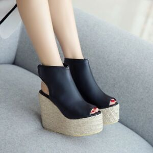 Womens-Wedge-High-Heels-Platform-Creepers-Sandals-Open-Toe-Ankle-Boots-Shoes-Sz