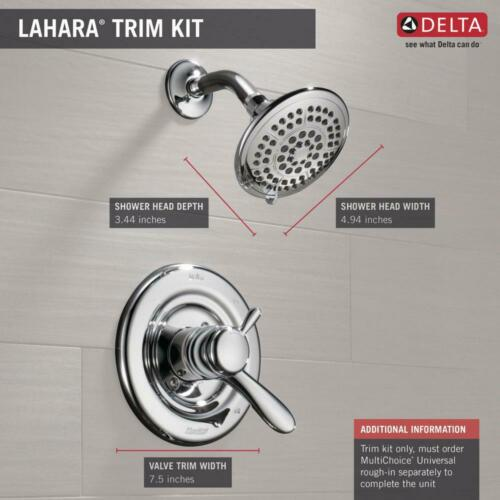 Delta Lahara 1-Handle Shower Only Faucet Trim Kit in Chrome Valve Not Included