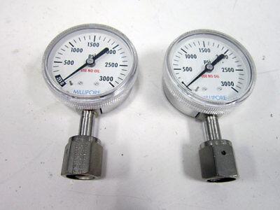 2x Millipore 01-0130-f Pressure Gauge 3000 Psi