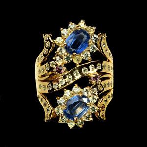 Unheated-Blue-Kyanite-Sapphire-Diamond-Cut-Gems-925-Sterling-Silver-Ring-Sz-8-5