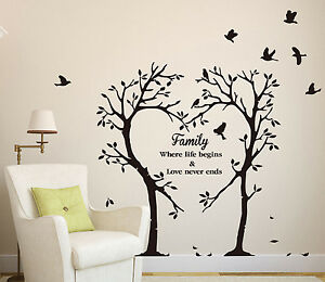 Image Is Loading Family Love Heart Tree Wall Art Sticker Wall