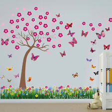 Cherry Blossom Tree 3D Butterflies Grass Wall Art Decal Sticker Mural Home Decor