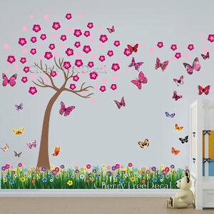 Cherry-Blossom-Tree-3D-Butterflies-Grass-Wall-Art-Decal-Sticker-Mural-Home-Decor