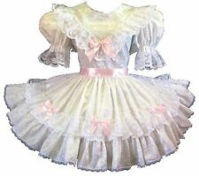 """Jasmine"" Custom Fit White SATIN Pink BOWS Adult LG Sissy Baby Dress LEANNE"