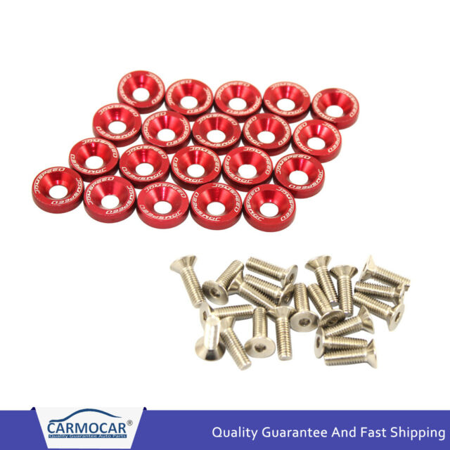 10 PCS JDMSPEED Red Aluminium Fender Washers For Honda Civic Integra RSX EK