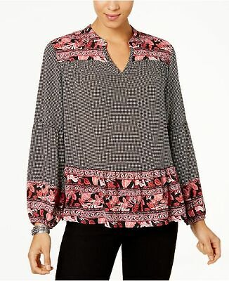 Style /& Co Plus Size Embroidered Gingham Top