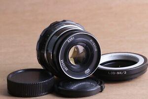 Industar-61-L-D-2-8-53-Objektiv-m39-Fed-Zorki-Olympus-Lumix-Adapter-Micro-4-3