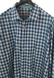ROBERT-GRAHAM-Plaid-Check-Shirt-3XL-Blue-Green-Multicolored-Flip-Cuff