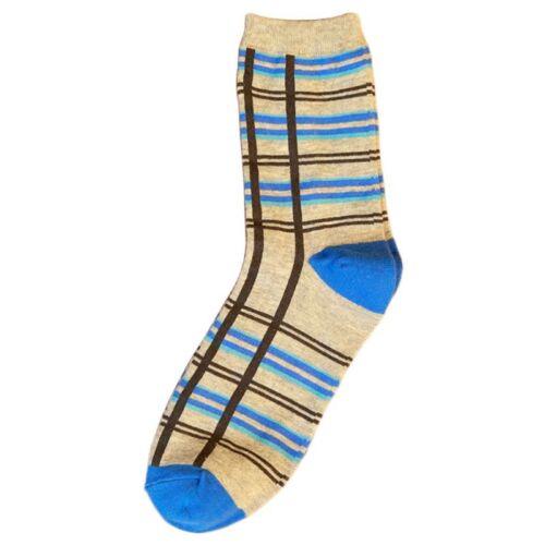 Cross Vertical Striped Plaid Long Cotton Crew Socks Contrast Color Elastic Mens