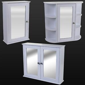 White-Wooden-Mirror-Door-Indoor-Wall-Mountable-Bathroom-Cabinet-Shelf-Cupboards