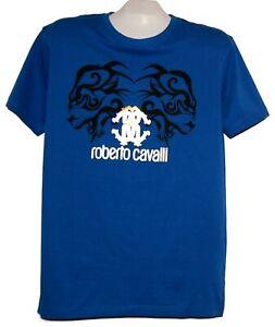 Roberto-Cavalli-Blue-Black-Gold-Logo-Design-Men-039-s-Cotton-Shirt-T-Shirt-Sz-2XL