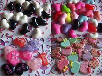 Valentine Hearts Resin Cabochon Flatbacks Colorful Hearts Charm Flatbacks