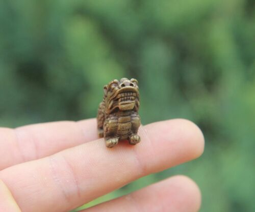 3 CM 100/% Pure Bronze China Fengshui Animal Foo Dog Lion Dragon Amulet Sculpture