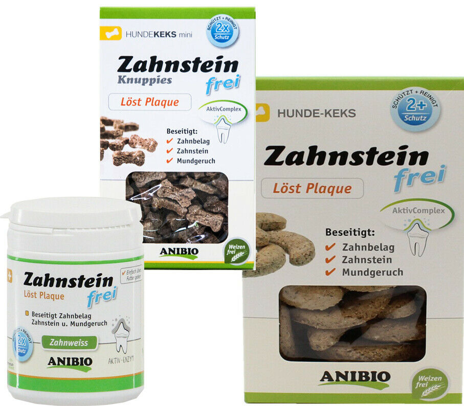 Anibio Zahnsteinfrei Produkte - Pulver und Kekse und SETS -  & SPARPACK