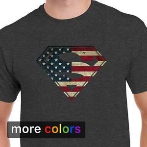 4fcf55c9977 Image is loading American-Flag-Superman-Logo-Shield-Mens-T-shirt-
