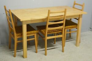 Dining Table And Three Retro Chairs Solid Beech Wood Delivery Available Ebay