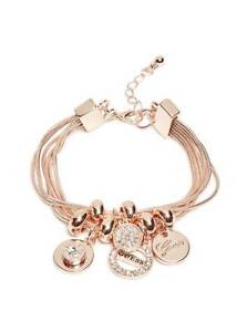 NWT-Guess-Rose-Gold-tone-Metal-amp-Clear-Rhinestone-Round-Charms-Rope-Bracelet