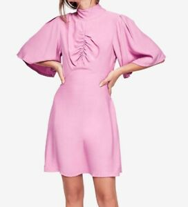 Free-People-NEW-Pink-Ruched-Mock-Neck-Women-039-s-Size-12-Sheath-Dress-128-261