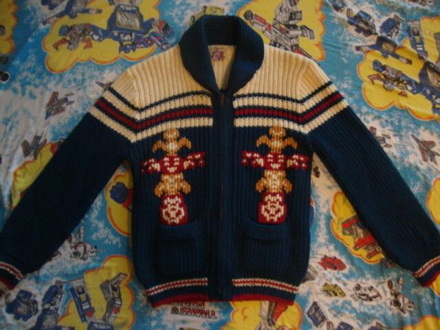 Vintage Pacific Northwest Totem Pole  Southwest Western Sweater Cardigan M