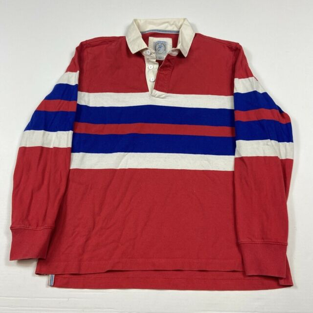 Lands End Red White Blue Long Sleeve Polo Rugby Shirt sz Large