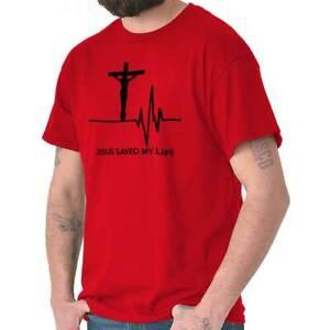 Men-Women-Jesus-Christ-Saved-My-Life-T-Shirt-Religious-Clothing-Faith-Tee-Cross