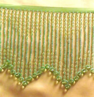 Striking Pale Green Beaded Fringe With Design In The Middle - Lampshades 114