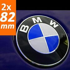 2x BMW 82mm blue white emblem (2pcs) hood or trunk NEW DESIGN FOR BMW