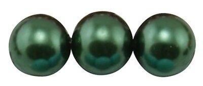 30 perles nacrées Renaissance 8 mm vert sapin