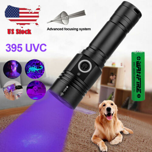 395nm LED UV Light Blacklight USB Rechargeable Tactical Flashlight Battery Torch