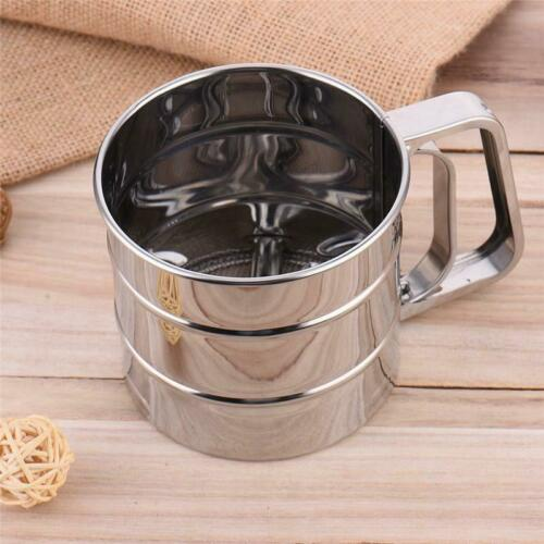Stainless Steel Mug Style Flour Sieve Mesh Icing Sugar Sifter Cup Strainer