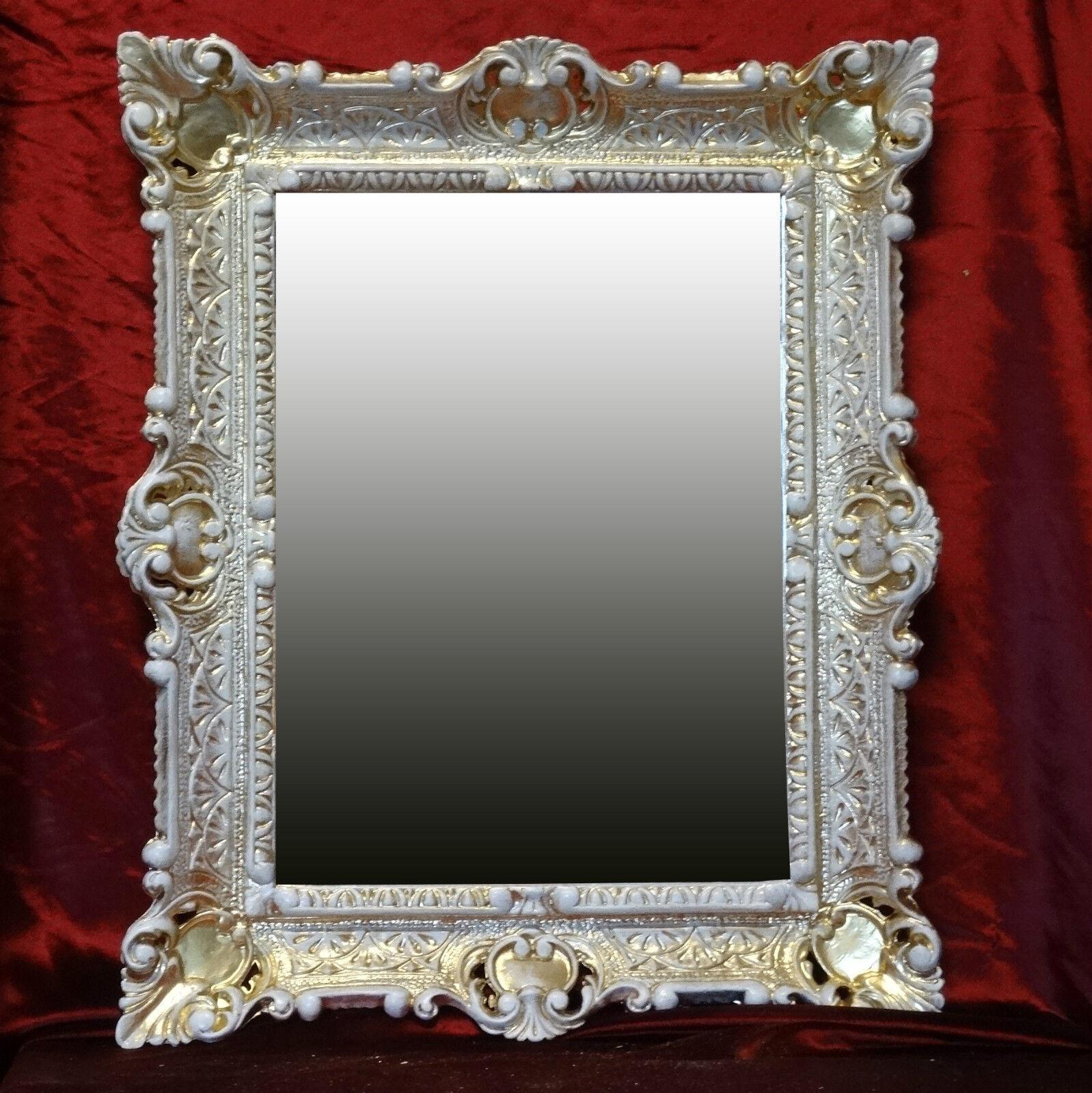 Wall mirror gold white antique baroque repro bathroom for Baroque bathroom mirror